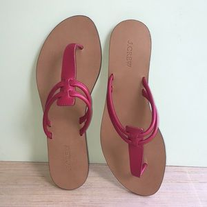 J Crew Thong Sandals Faux Wood Pink Straps